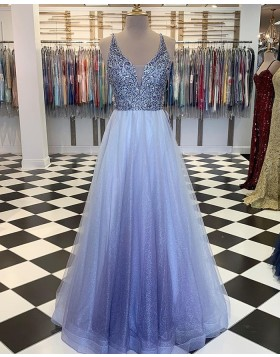 V-neck Beading Bodice Prom Dress with Starry Sky Skirt PM1888