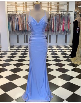 Spaghetti Straps Ruched Blue Satin Mermaid Prom Dress PM1889