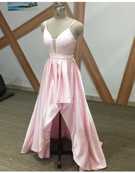 Simple Spaghetti Straps Pink High Low Prom Dress PM1900
