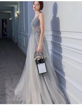 V-neck Beading Bodice Grey Pleated Evening Dress with Side Slit PM1901