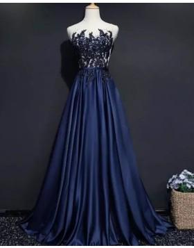 Sheer Neck Beading Bodice Navy Blue Satin Evening Dress PM1902