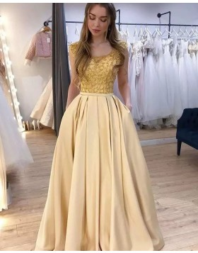 Scoop Neck Beading Bodice Yellow Prom Dress with Pockets PM1903