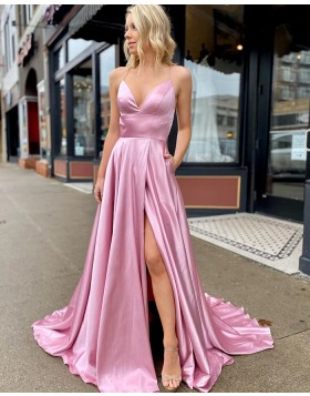 Simple Spaghetti Straps Pink Satin Slit Prom Dress with Pockets PM1906