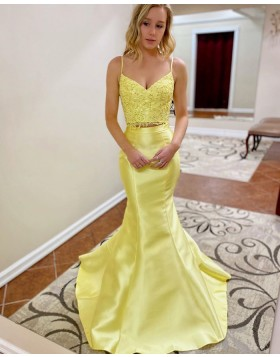 Two Piece Yellow Lace Bodice Mermaid Prom Dress PM1907