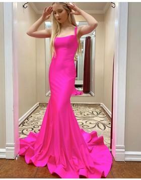 Simple Square Neckline Satin Mermaid Prom Dress PM1909