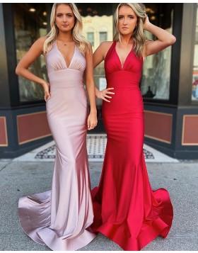 Simple Halter Red Neckline Ruched Satin Prom Dress PM1910