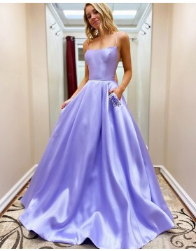 Spaghetti Straps Light Purple Satin Prom Dress with Beading Pockets PM1912
