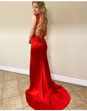V-neck Lace Bodice Red Mermaid Prom Dress with Side Slit PM1913