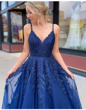 Spaghetti Straps Lace Bodice Navy Blue Tulle Prom Dress PM1916
