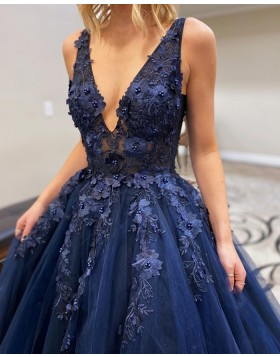 V-neck Navy Blue Beading Applique Tulle Prom Dress PM1917