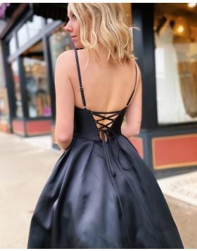 Spaghetti Straps Beading Black Satin Prom Dress with Pockets PM1918