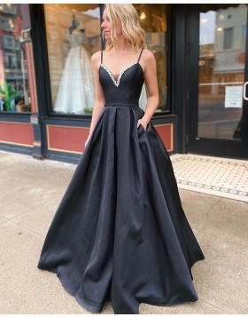 Spaghetti Straps Beading Black Satin Prom Dress with Pockets PM1918