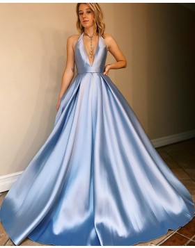 Simple Halter Light Blue Satin Prom Dress with Pockets PM1920