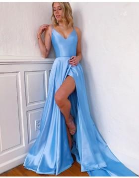 Simple Spaghetti Straps Sky Blue Side Slit Satin Prom Dress with Pockets PM1921