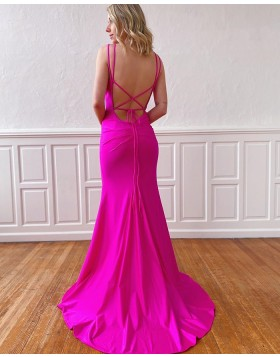 Simple Double Spaghetti Straps Fuchsia Mermaid Satin Prom Dress PM1923