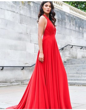 Simple Halter Ruched Bodice Red Satin Prom Dress PM1925