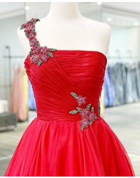 One Shoulder Beading Ruched Tulle Red Prom Dress PM1926