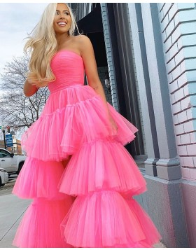 Strapless Black Tulle High Low Layer Ruffled Prom Dress PM1928
