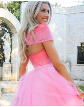 Off the Shoulder Ruched Pink Tulle Prom Dress PM1929