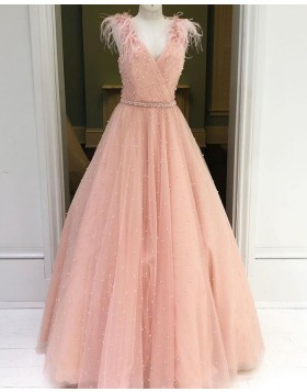 V-neck Beading Sparkle Tulle Dusty Pink Prom Dress with Feather Sleeves PM1930
