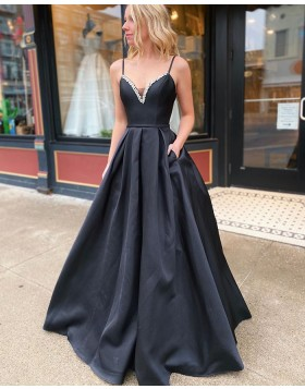 Spaghetti Straps Black Satin Beading Prom Dress with Pockets PM1932