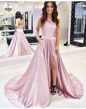 Simple Slit One Shoulder Pink Satin Prom Dress with Pockets PM1933
