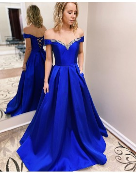 Off the Shoulder Blue Beading Satin Prom Dress with Pockets PM1941