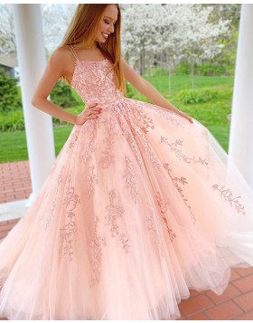Spaghetti Straps Lace Applique Tulle Pink Prom Dress PM1942