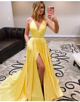 Simple Spaghetti Straps Yellow Pleated Satin Prom Dress with Pockets PM1944