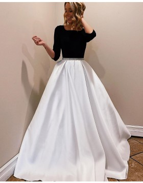 Scoop Neckline White & Black Satin Prom Dress with 3/4 Length Sleeves PM1945