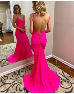 Simple Spaghetti Straps Satin Mermaid Prom Dress with Open Back PM1946