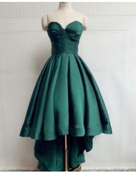 Simple Sweetheart High Low Green Satin Prom Dress PM1947