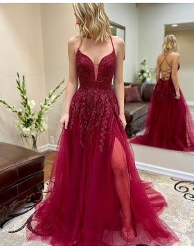 Spaghetti Straps Burgundy Beading Tulle Prom Dress with Side Slit PM1948
