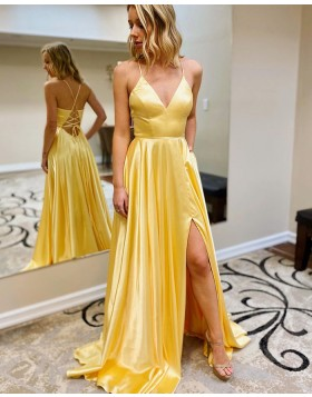 Simple Spaghetti Straps Yellow Satin Slit Prom Dress with Pockets PM1950