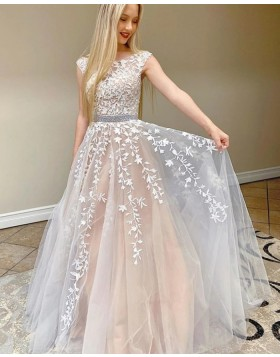 Jewel Lace Applique Ivory Prom Dress with Beading Belt PM1955