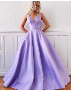 Simple Lavender V-neck Satin Prom Dress with Pockets PM1956