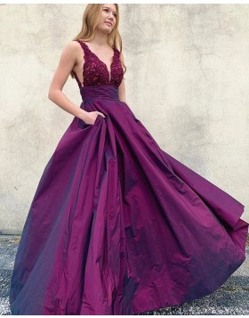 V-neck Lace Bodice Purple Prom Dress with Pockets PM1957