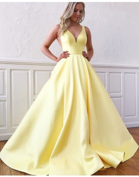Simple V-neck Satin Yellow Prom Dress with Pockets PM1958
