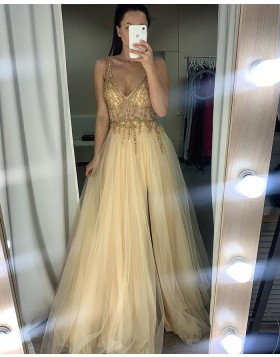 V-neck Beading Bodice Champagne Tulle Prom Dress with Side Slit PM1959