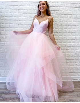 Simple Spaghetti Straps Pearl Pink Ruffled Prom Dress PM1960