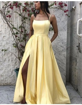 Simple Spaghetti Straps Yellow Satin Slit Prom Dress with Pockets PM1964