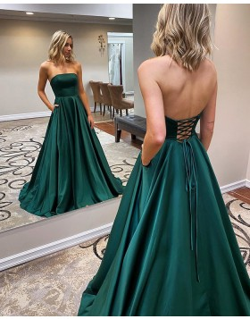Simple Strapless Satin Green Prom Dress with Pockets PM1967