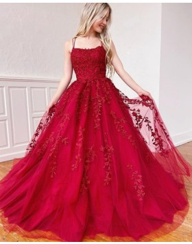 Spaghetti Straps Lace Applique Red Prom Dress PM1968