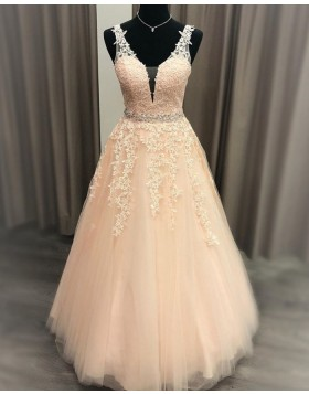 V-neck Lace Applique Pink Tulle Prom Dress with Beading Belt PM1969