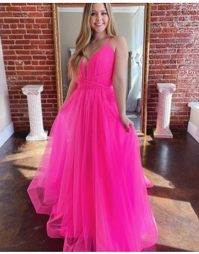 Spaghetti Straps Blush Pink Ruched Tulle Prom Dress PM1973