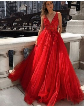 V-neck Red Lace Applique Tulle Prom Dress PM1975