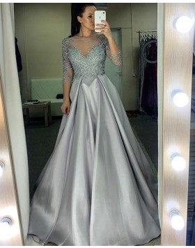 Sheer Neckline Beading Bodice Grey Prom Dress with 3/4 Length Sleeves PM1976