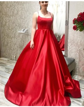 Simple Spaghetti Straps Red Satin Prom Dress PM1978