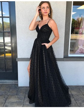 Spaghetti Straps Black Polka Dot Net Side Slit Prom Dress with Pockets PM1989