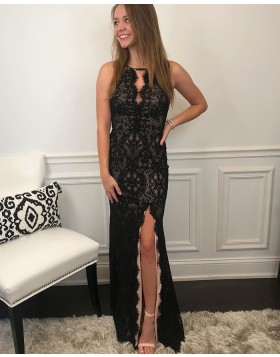 Jewel Neckline Lace Black Mermaid Prom Dress with Side Slit PM1992